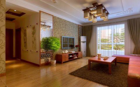 中式客厅背景墙室内效果图