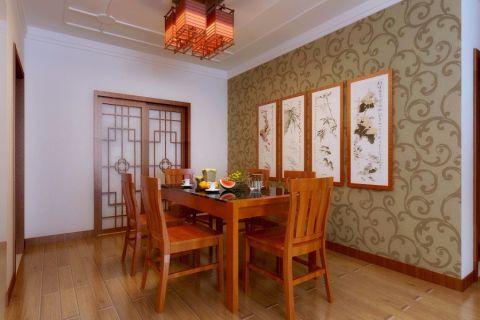 餐厅米色背景墙中式风格装修设计图片