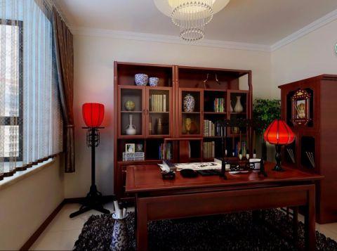 书房红色博古架中式风格装饰设计图片