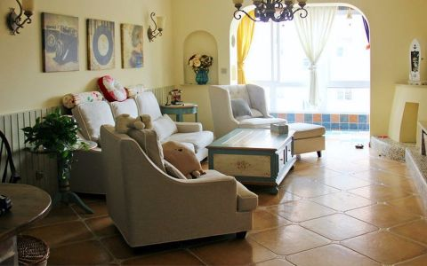 客厅黄色照片墙美式风格装潢设计图片