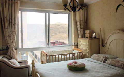 卧室米色窗帘美式风格装饰效果图