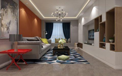 客厅蓝色窗帘现代风格装潢效果图