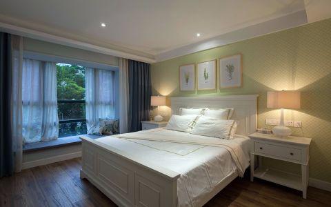 卧室蓝色窗帘美式风格效果图