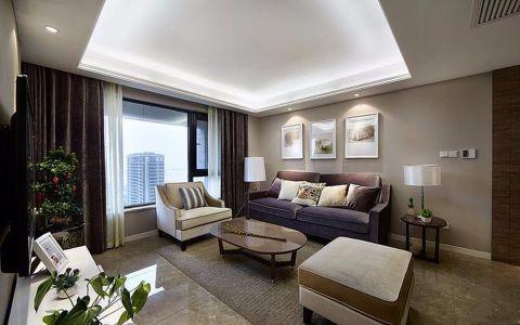 客厅黑色窗帘现代简约风格效果图