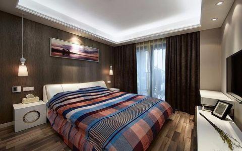 卧室黑色窗帘现代简约风格装潢效果图