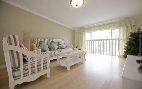 客厅彩色沙发田园风格装饰图片