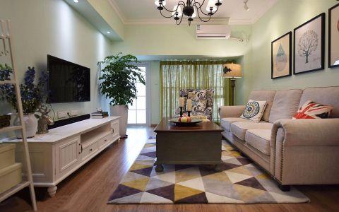 美式客厅背景墙装饰实景图片