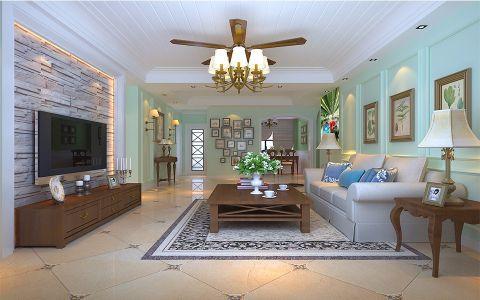 客厅灰色背景墙田园风格装饰设计图片