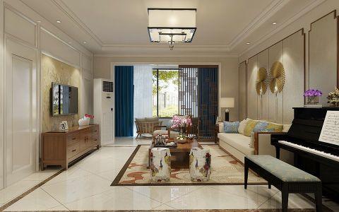 客厅米色背景墙现代中式风格装潢效果图