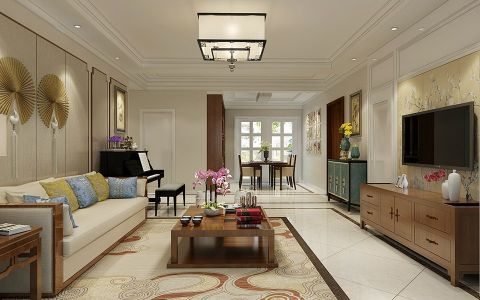 客厅黄色背景墙现代中式风格装饰图片