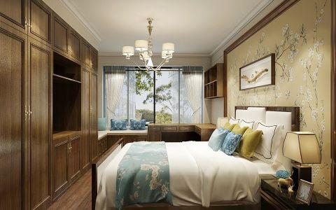 卧室白色窗帘现代中式风格装潢图片
