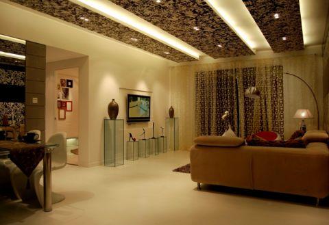 客厅米色背景墙现代简约风格装饰设计图片