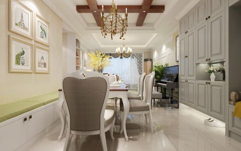低调优雅餐厅照片墙家装设计
