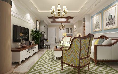 客厅背景墙美式效果图图片