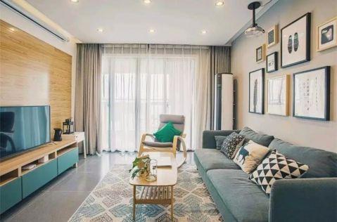 客厅米色照片墙北欧风格装潢图片