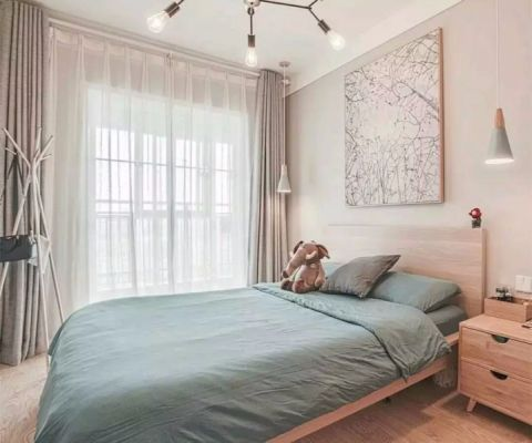 卧室米色窗帘北欧风格装饰设计图片