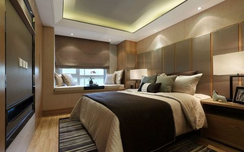 卧室米色飘窗后现代风格装饰效果图