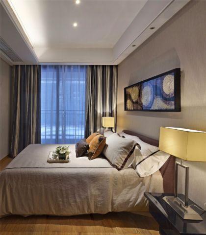 卧室灰色窗帘后现代风格装潢图片