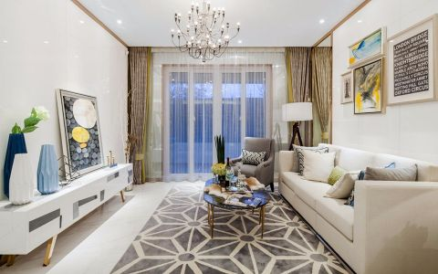 客厅白色沙发后现代风格装饰设计图片