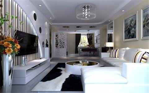 客厅彩色背景墙现代风格装饰图片