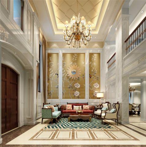 客厅黄色背景墙欧式风格装潢图片