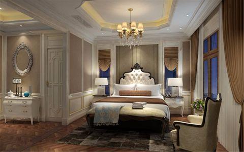 卧室灰色背景墙欧式风格装饰设计图片