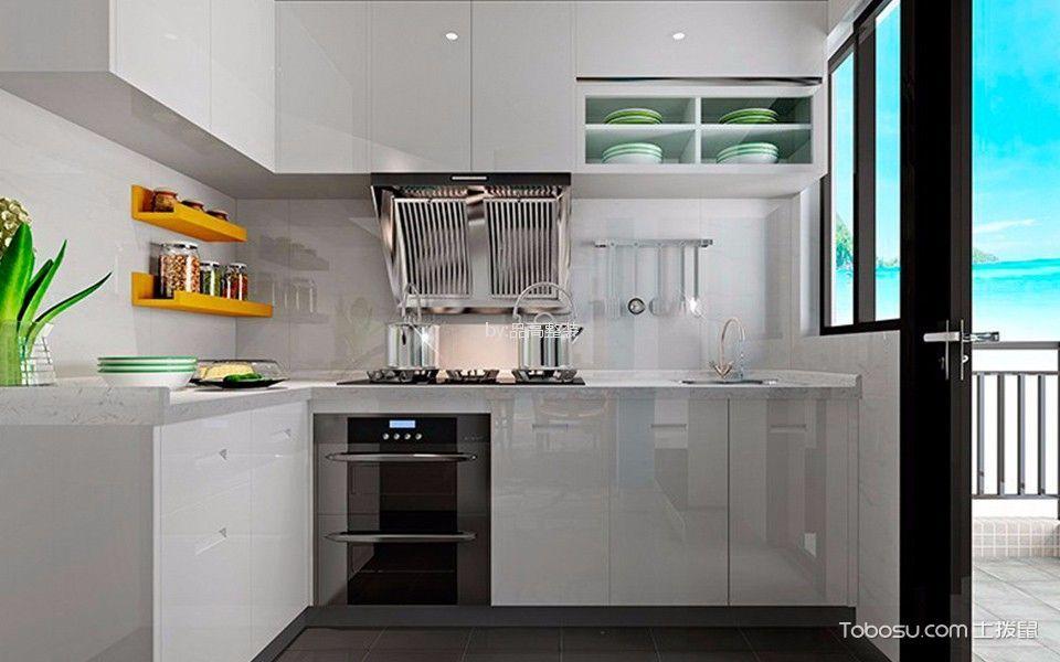 厨房白色背景墙简欧风格装修设计图片