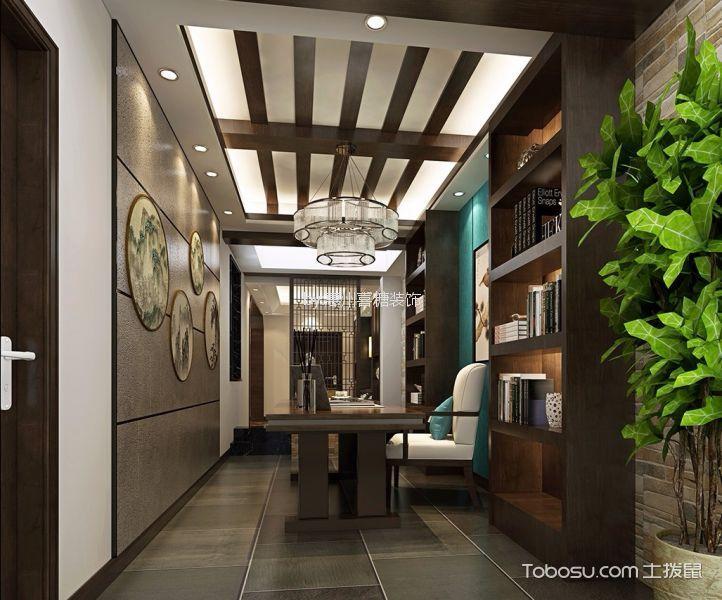 书房 吊顶_120平方新中式风格装修效果图