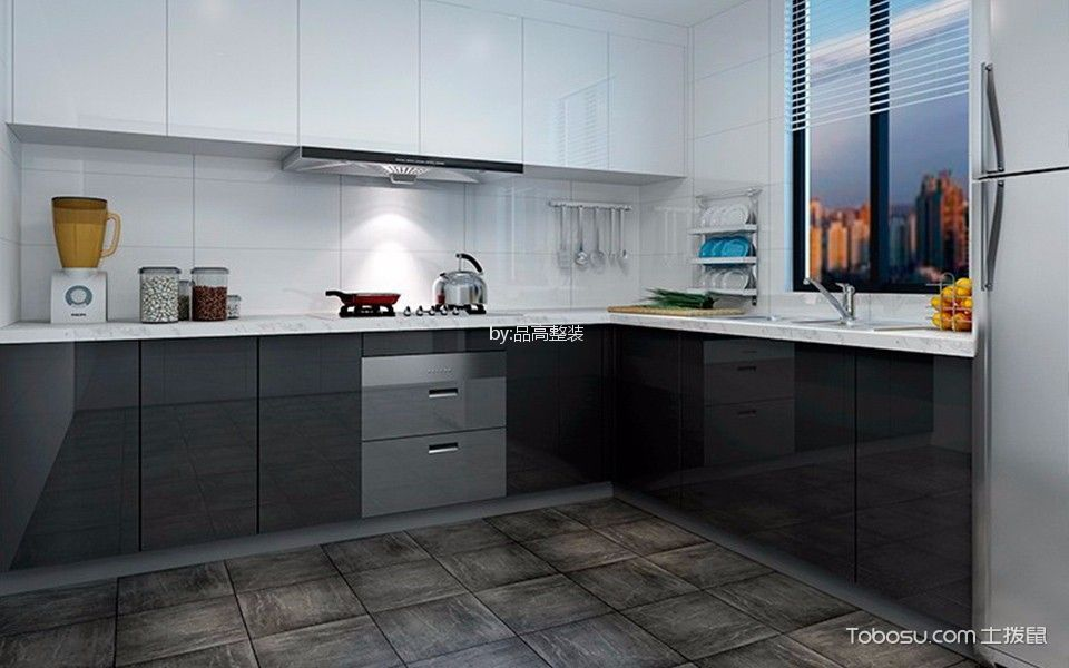 厨房白色背景墙简欧风格装饰效果图