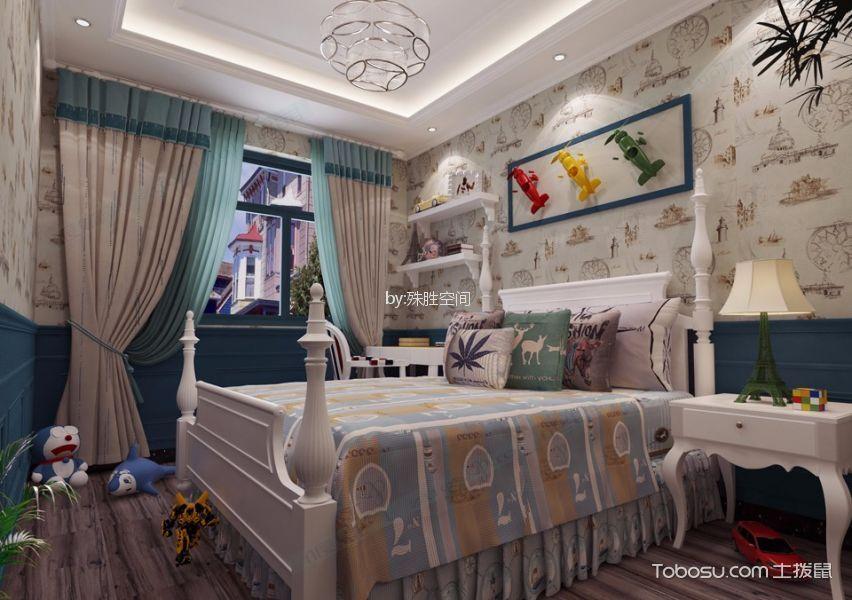儿童房米色窗帘新中式风格装修图片