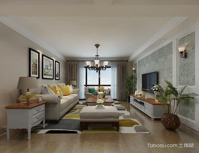 美式风格127平米套房新房装修效果图