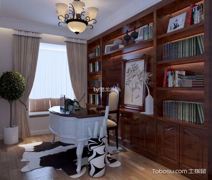 书房红色博古架混搭风格装修设计图片