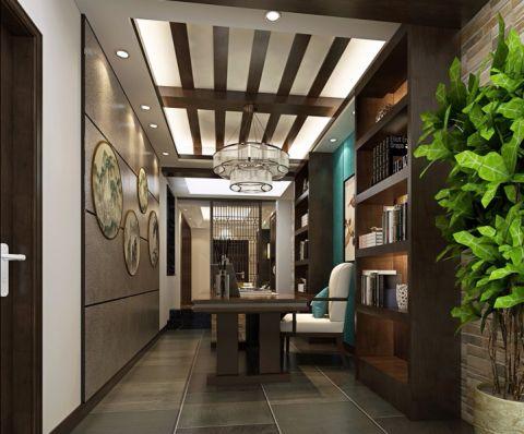 书房木格栅吊顶新中式室内效果图