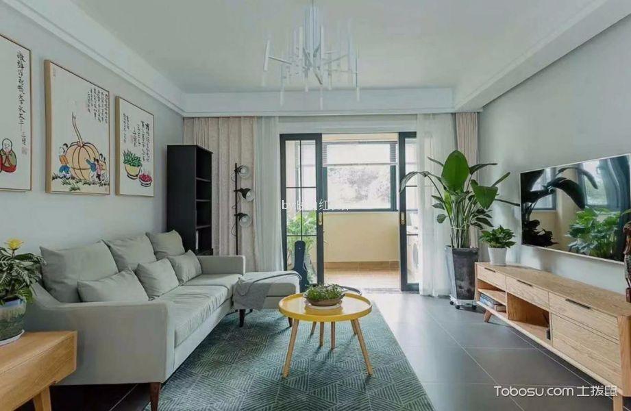 现代简约风格110平米二居室装修效果图