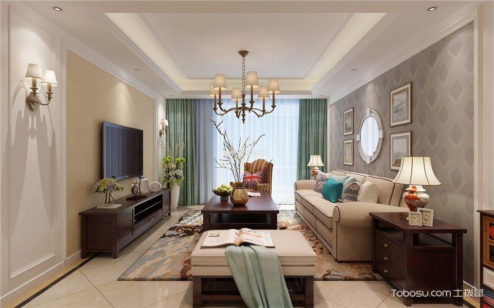 美式风格129平米三室两厅室内装修效果图