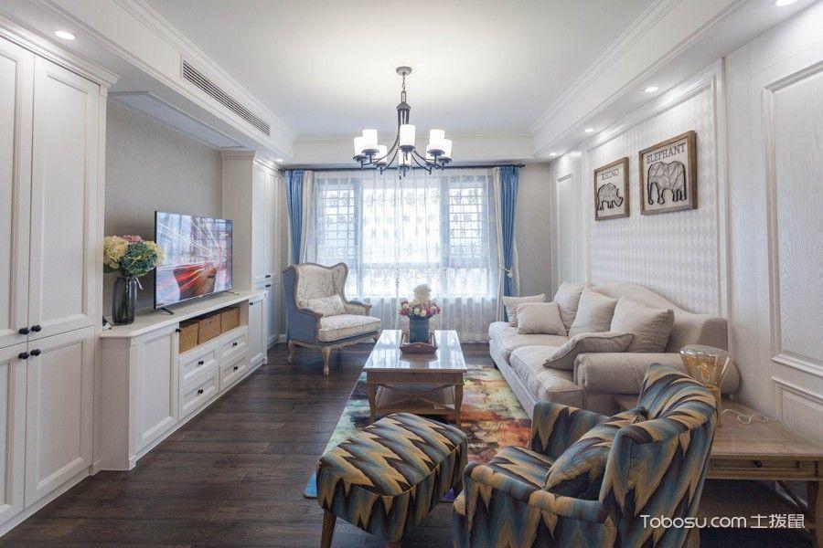 紫廷名苑130平三居室现代美式风格效果图