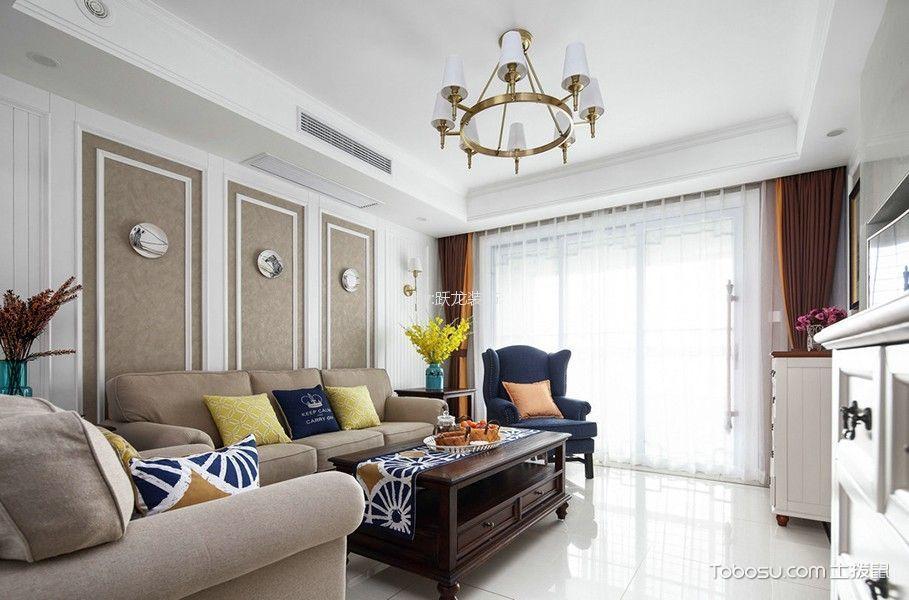 玉兰广场110平三居室美式风格效果图