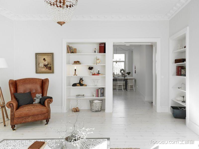 客厅白色隔断北欧风格装饰图片_土拨鼠装修效果图