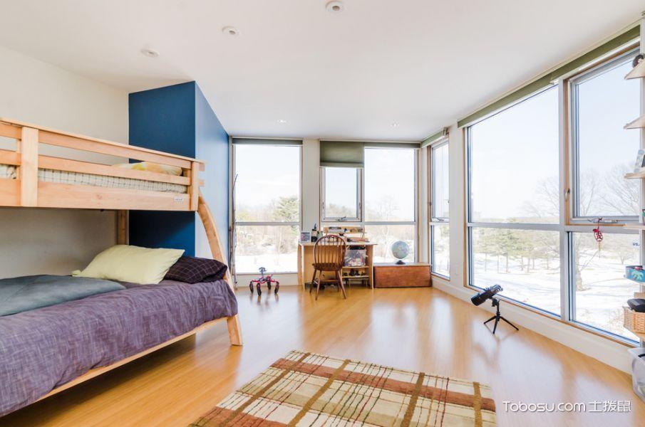 卧室黄色地板砖北欧风格装潢设计图片