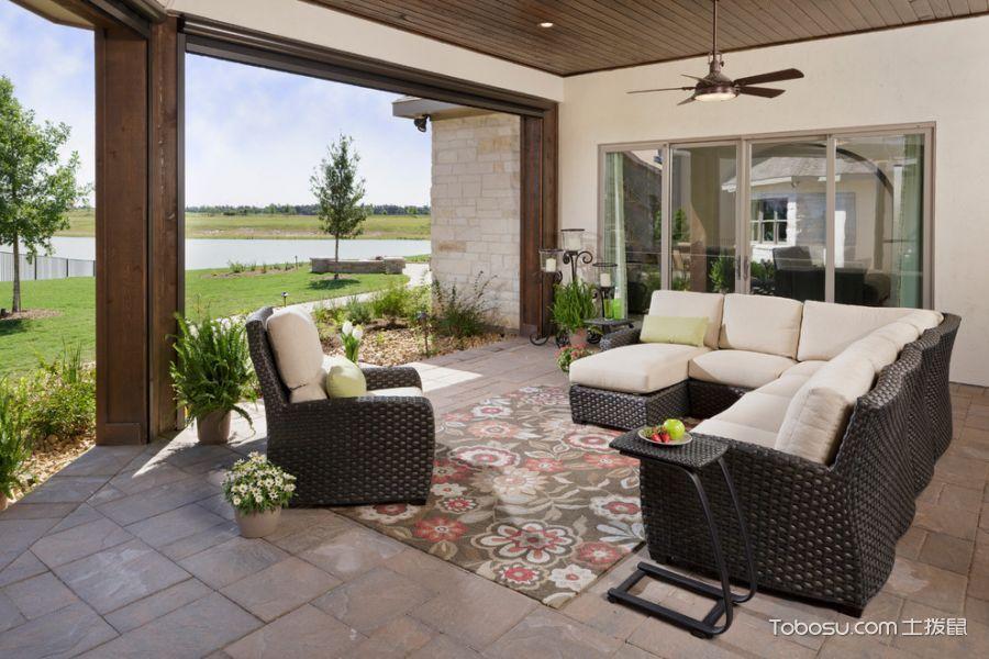 阳台灰色地板砖美式风格装修设计图片