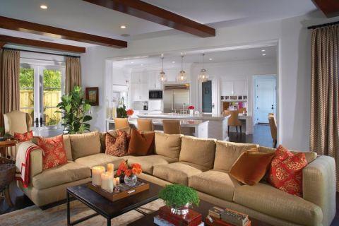 客厅美式风格效果图大全2017图片_土拨鼠个性淡雅客厅美式风格装修设计效果图欣赏