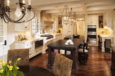 厨房美式风格效果图大全2017图片_土拨鼠干净质感厨房美式风格装修设计效果图欣赏