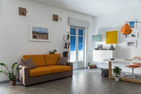 文艺橙色客厅室内装修图片