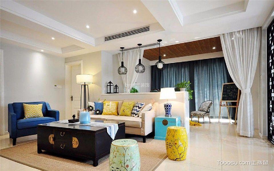 滨河小区102平新中式风格三居室装修效果图
