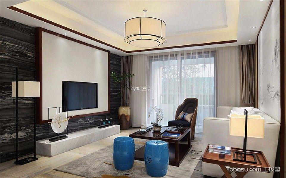 国轩苑130平新中式风格三居室装修效果图