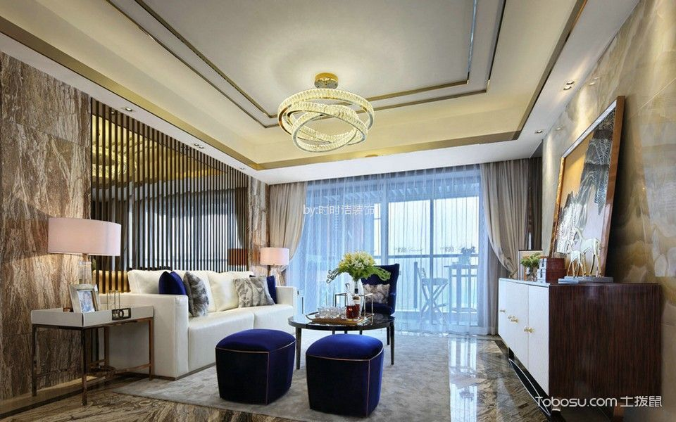 莫园新寓100平方三居室港式风格装修效果图