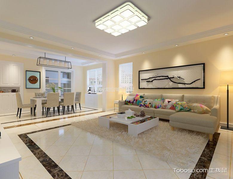 黄海城市花园160平现代风格三居室装修效果图
