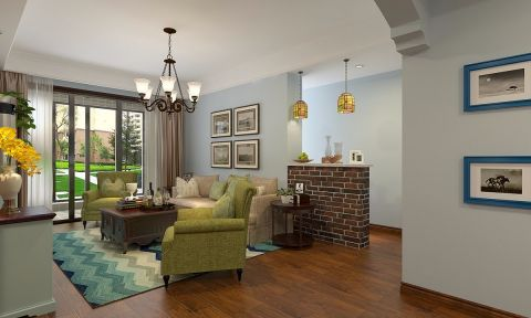 合肥繁華里小區100平米三居室美式風格裝修效果圖