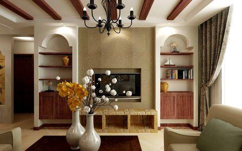保利叶公馆美式乡村风格三居室110平米装修效果图