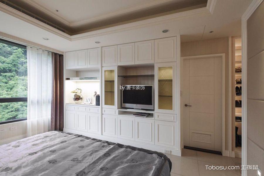 卧室白色电视柜简欧风格装修图片